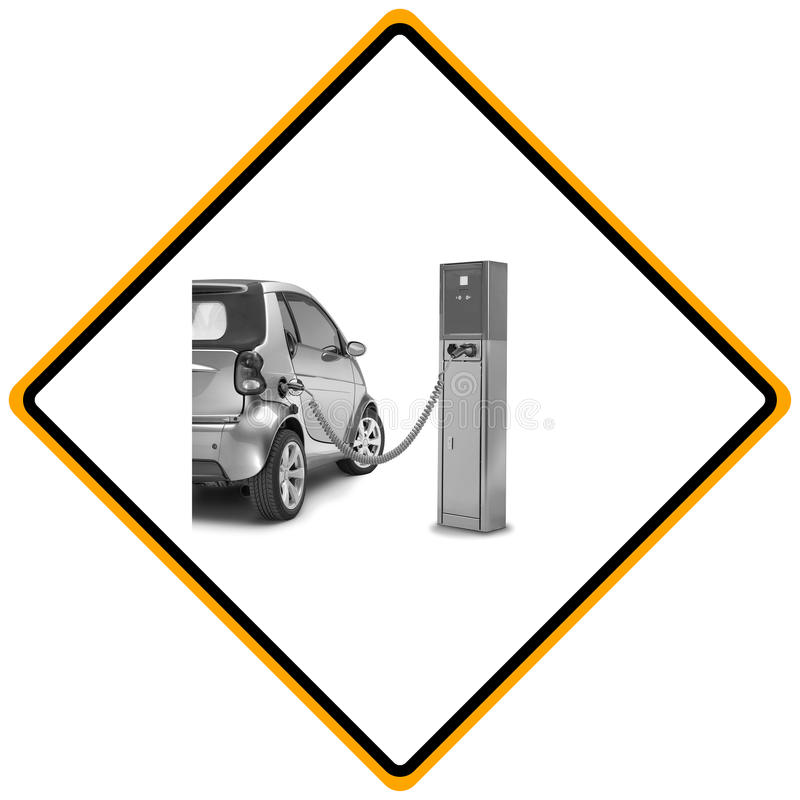 Sign showing electric car charging station stock photography