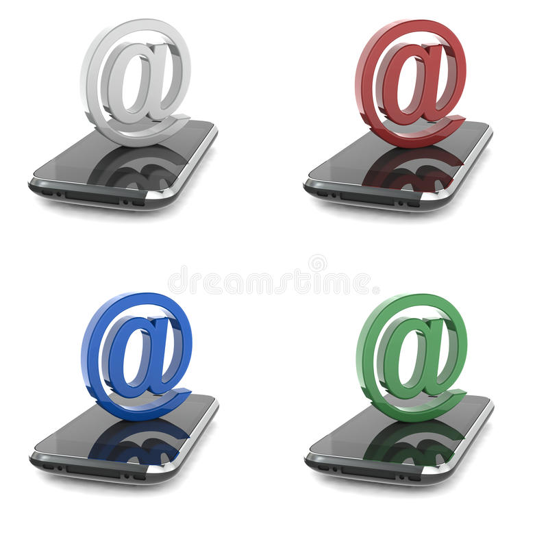 Download At sign on smartphone stock illustration. Image of sign - 30572619