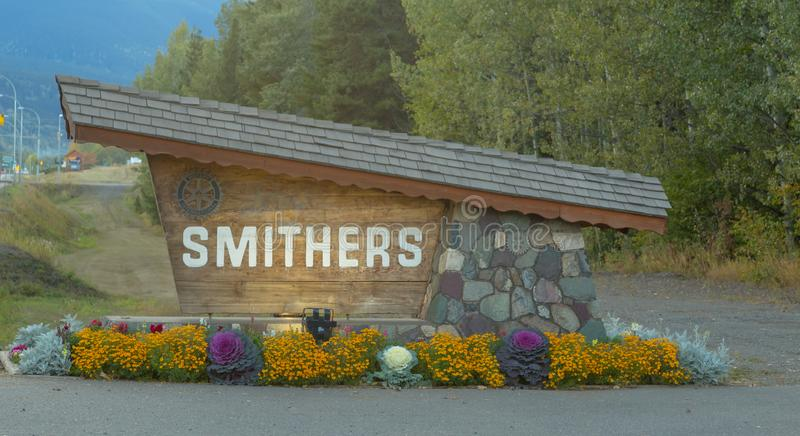 The sign of Smithers in Northern BC. SMITHERS SEPTEMBER, 2018: The sign of Smithers in Northern British Columbia, Canada stock photography
