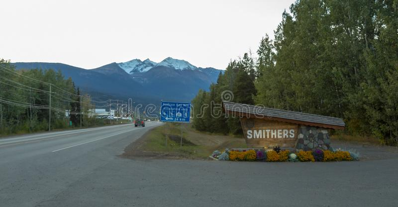 The sign of Smithers in Northern BC. SMITHERS SEPTEMBER, 2018: The sign of Smithers in Northern British Columbia, Canada royalty free stock image