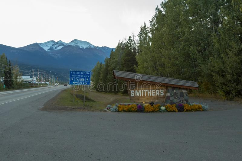 The sign of Smithers in Northern BC. SMITHERS SEPTEMBER, 2018: The sign of Smithers in Northern British Columbia, Canada stock photo