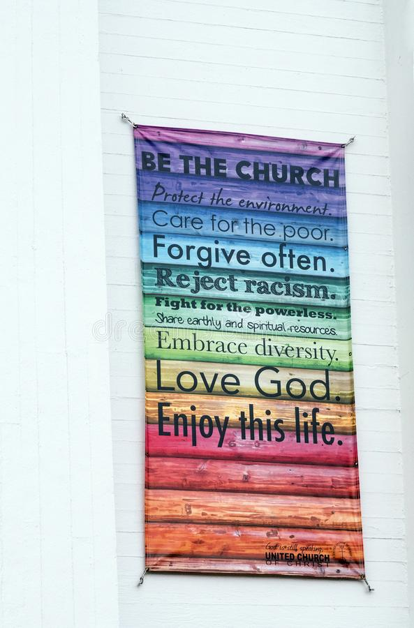 Sign on South Congregational church exhibiting social beliefs. In rainbow colors, Pittsfield Massachusetts, Berkshires, United Church of Christ founded 1850 stock photo