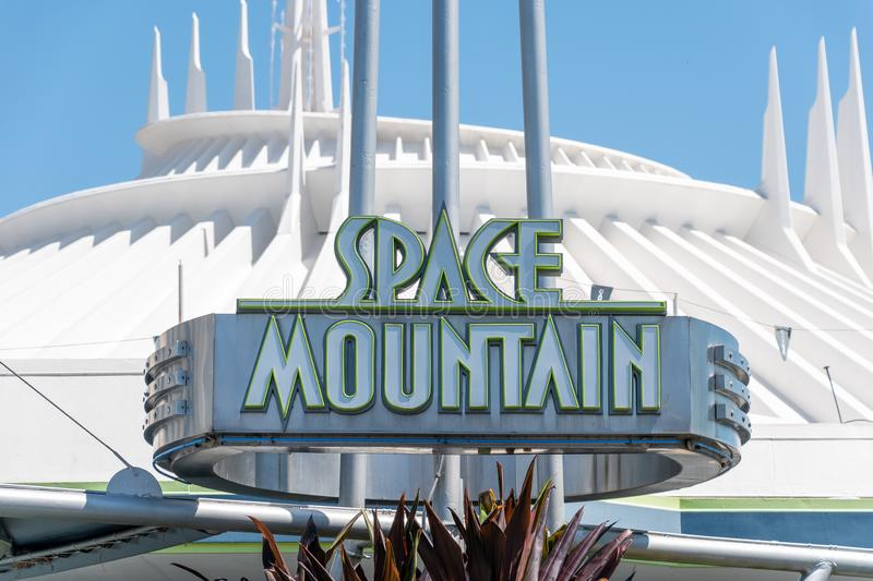 Sign for Space Mountain stock images