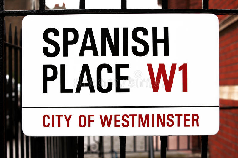 Sign Spanish Place In London, GB Stock Photography