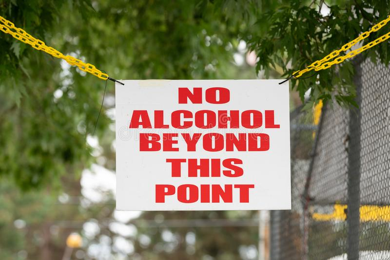 Sign specifying alcohol restriction royalty free stock photos