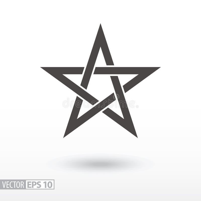 Sign Star. 5-point Celtic star knot. Pentagram stock illustration