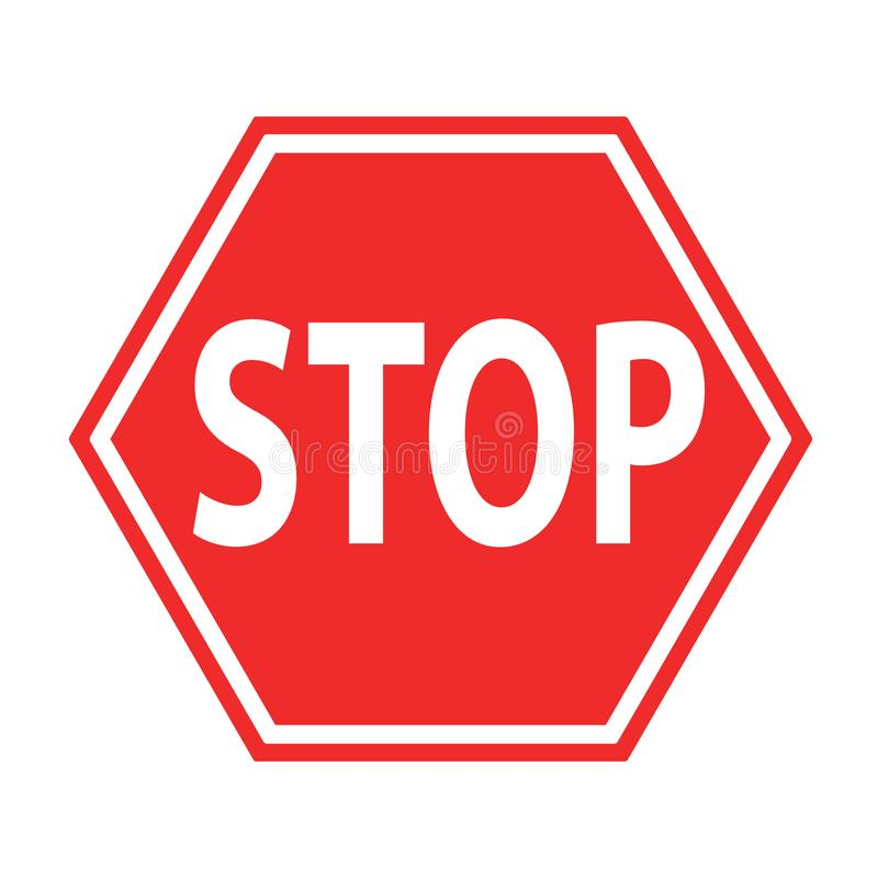 Sign stop blocking red on white icon, stock vector illustration. Eps 10 vector illustration