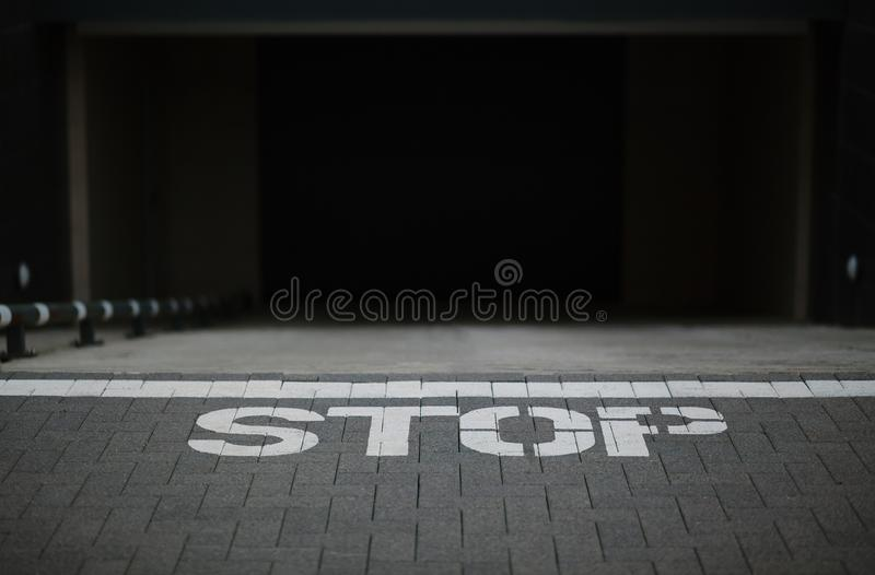 Sign stop on the ground stock photos