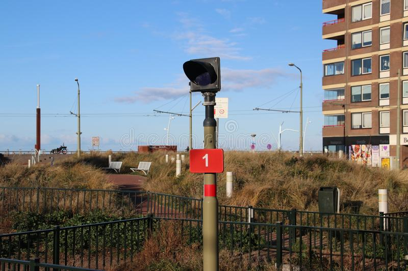 Sign of stop for streetcar tram for lines 11 and 31 at the end of line loop in Scheveningen, the Netherlands stock image