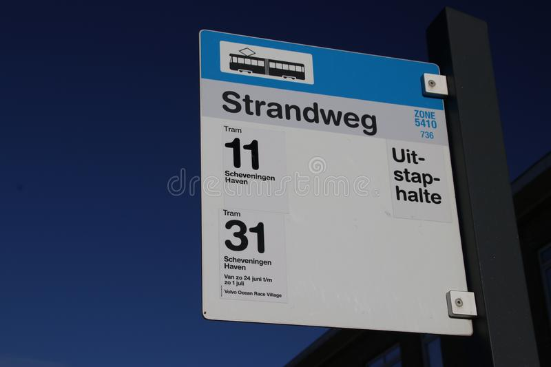 Sign of stop for streetcar tram for lines 11 and 31 at the end of line loop in Scheveningen, the Netherlands. stock images