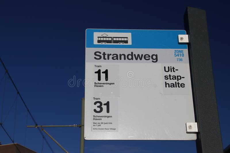 Sign of stop for streetcar tram for lines 11 and 31 at the end of line loop in Scheveningen, the Netherlands. stock image