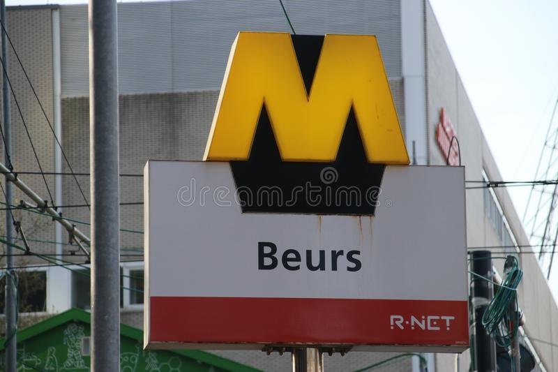Sign of the subway in Rotterdam at metro station Beurs, WTC in English as part of R-Net transport system stock images