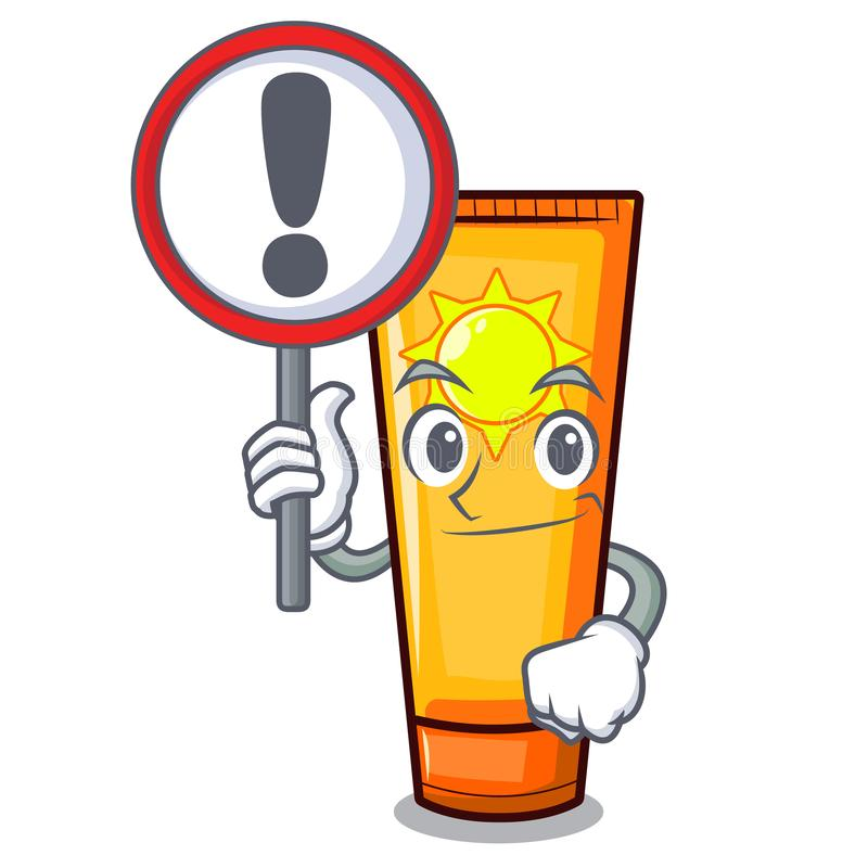 With sign sun cream in the mascot shape. Vector illustration vector illustration