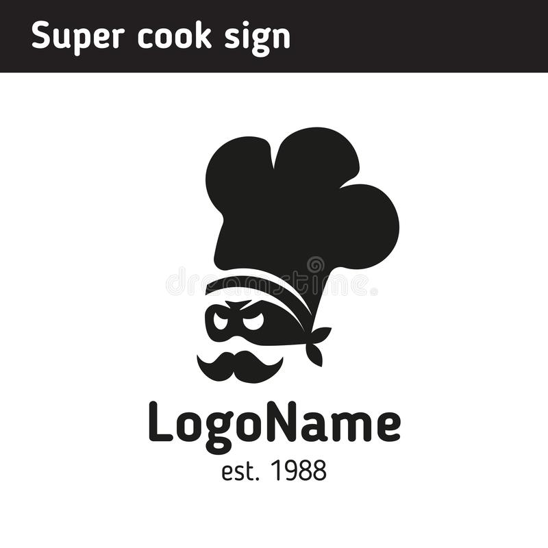 sign super cook in a cap, for a fast food cafe or culinary courses royalty free illustration