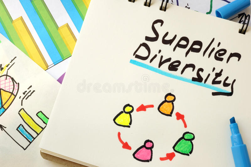 Sign supplier diversity on a page. stock images