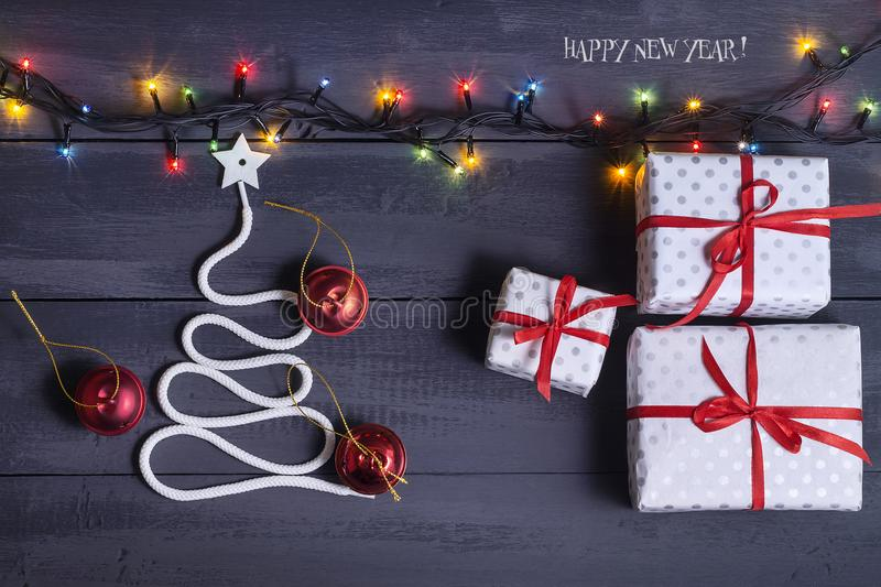 Sign symbol Christmas tree on a wooden background. A copy of space. The idea of a merry new year. Christmas. stock images