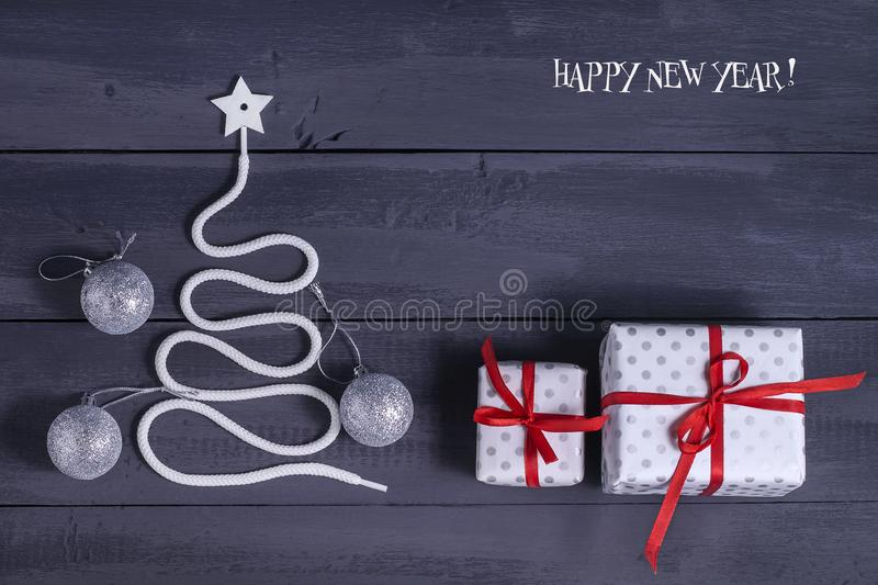 Sign symbol Christmas tree on a wooden background. A copy of space. The idea of a merry new year. Christmas. stock photo