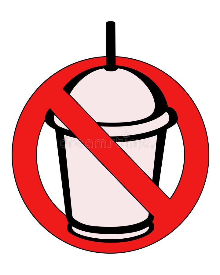Sign, symbol or icon `do not enter drinks`. Prohibited plastic utensils. Plastic cups are prohibited - they are dangerous for the royalty free illustration