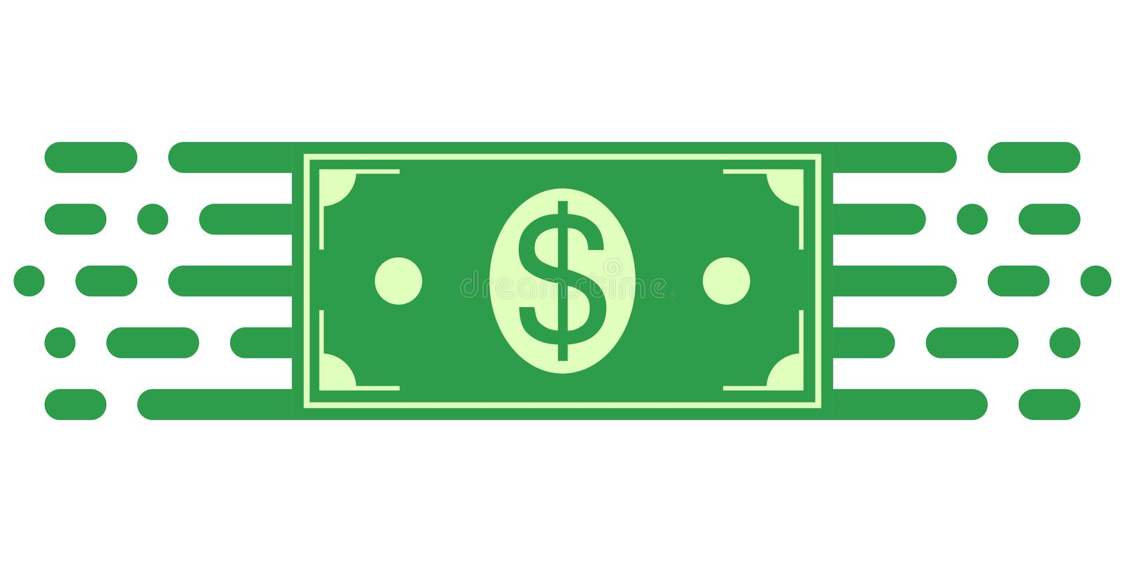 Sign symbol investment, dollar money bill in financial movement, vector symbol of money turnover. Business management vector illustration