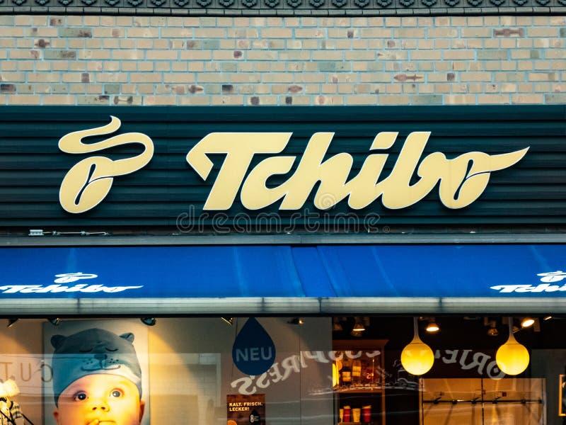 Sign of Tchibo shop stock image