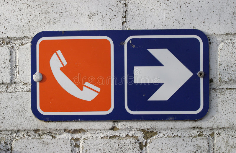 Download Sign, Telephone stock image. Image of telephone, wall, blue - 50593