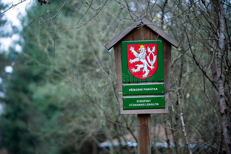 Sign with text in Czech language: Prirodni pamatka and Evropsky vyznamna lokalita, in English: Natural monument and Site of. Czech Republic, November 2019. Sign royalty free stock images