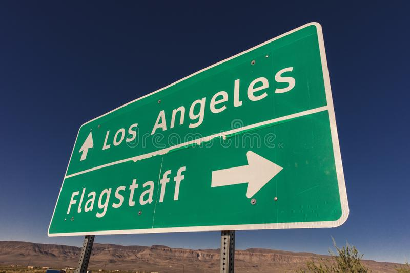 Sign to Los Angeles and Flagstaff Arizona. SEP 2013, ARIZONA - Sign to Los Angeles and Flagstaff Arizona stock photo