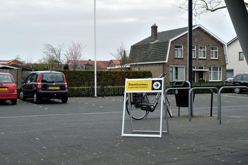 The sign to the polling-station Hengelo March 20th 2019 royalty free stock photo