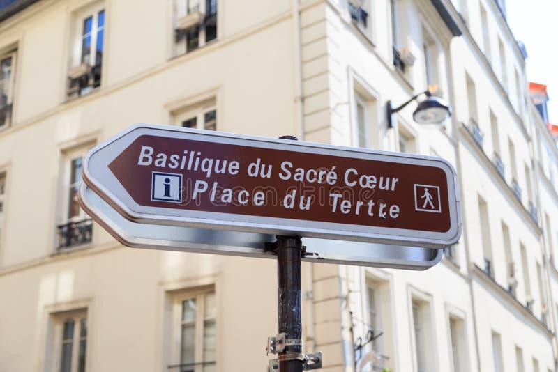 Sign to Sacre Coeur stock image