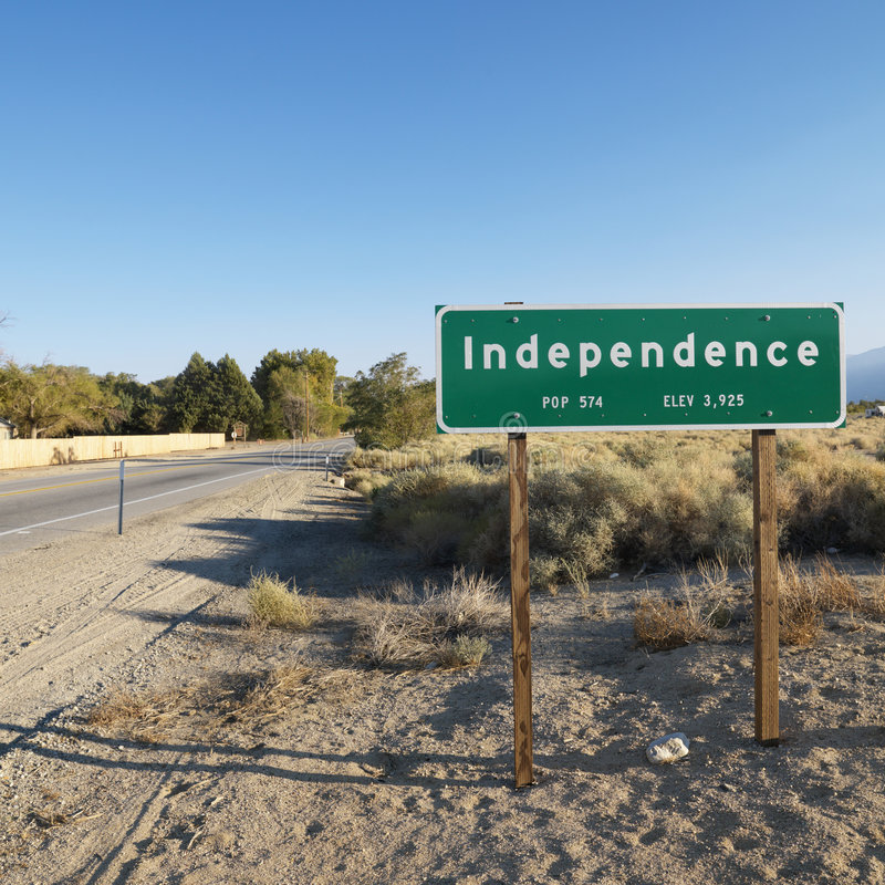Sign for town named Independence.