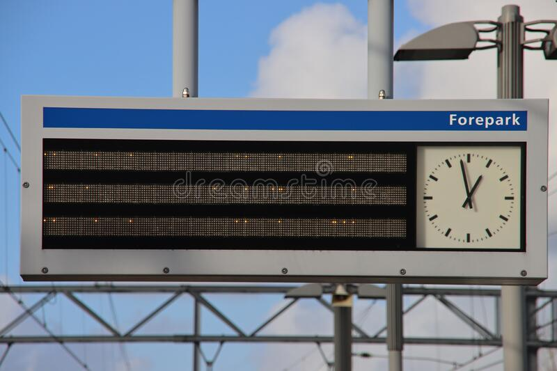 Sign on tram and metro station Forepark in The Hague for RET and HTM randstad vehicles royalty free stock photography