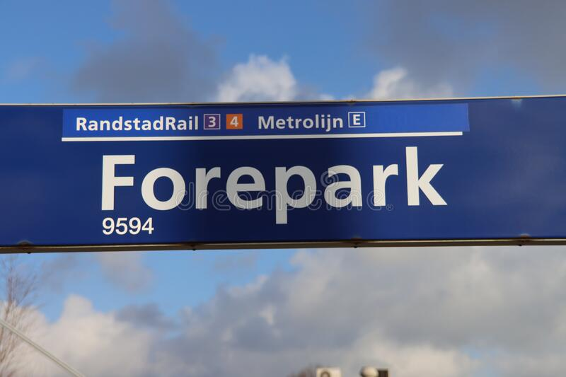 Sign on tram and metro station Forepark in The Hague for RET and HTM randstad vehicles stock photo
