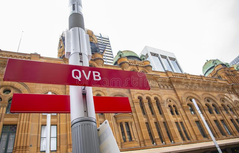 The sign of tram station at QVB Queen Victoria Building, South East Light Rail is a new light rail network for Sydney. royalty free stock photography