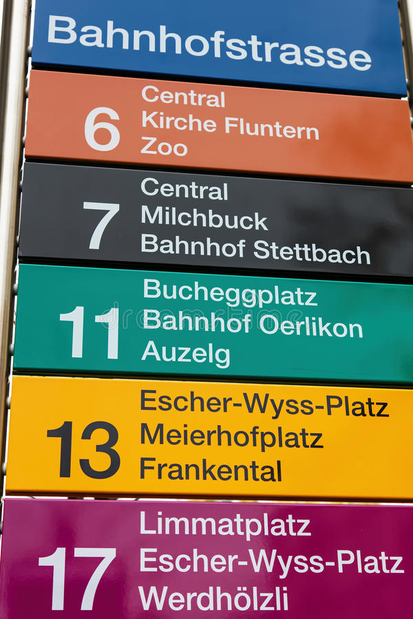 Sign on the tram stop on the Bahnhofstrasse street in Zurich royalty free stock photo