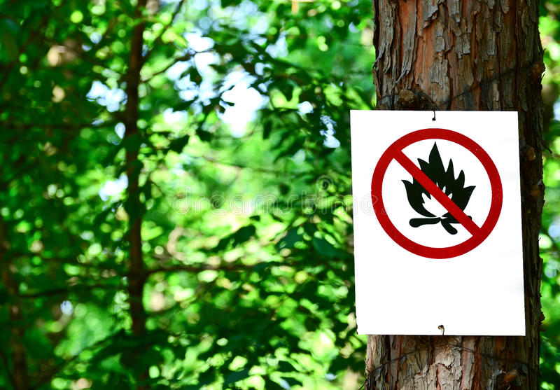 Sign on tree in forest - Prohibited fire concept. This image represents Sign on tree in forest - Prohibited fire concept stock photos