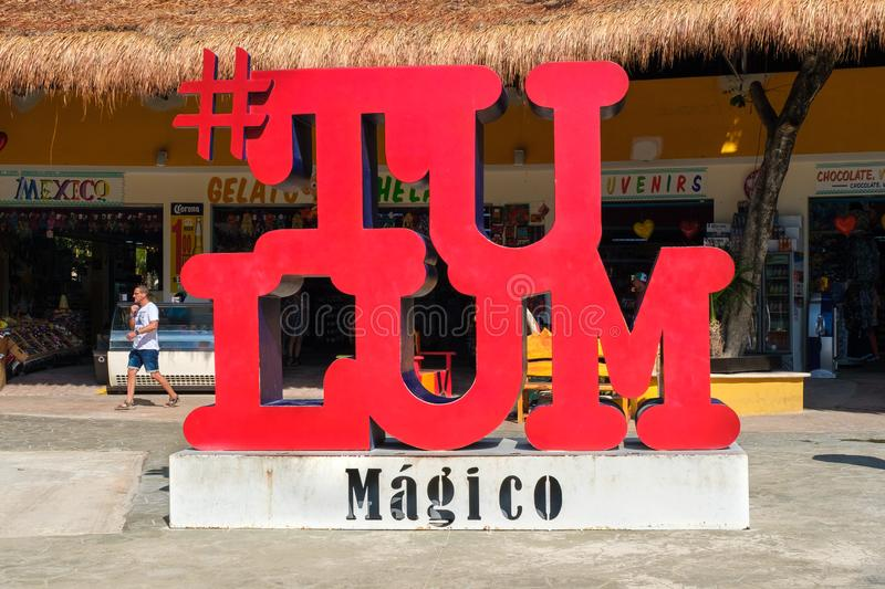 Sign at Tulum in the Mayan Riviera, Mexico. TULUM,MEXICO - APRIL 18,2019 :  Sign at the entrance of a traditional souvenirs shop at Tulum in the Mayan Riviera stock image