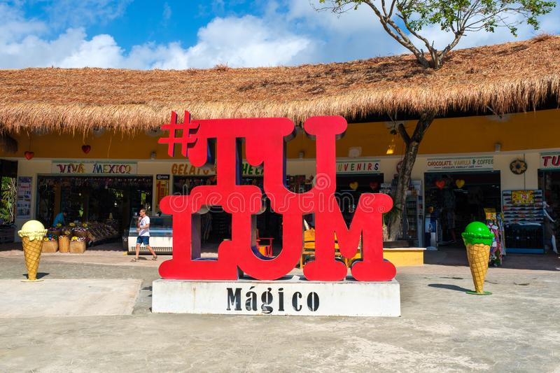 Sign at Tulum in the Mayan Riviera, Mexico. TULUM,MEXICO - APRIL 18,2019 :  Sign at the entrance of a traditional souvenirs shop at Tulum in the Mayan Riviera stock photos