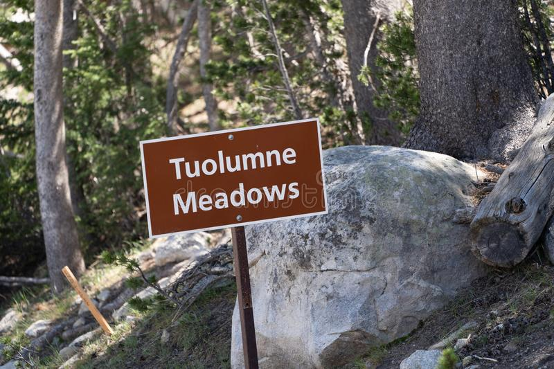 Sign for Tuolumne Meadows in Yosemite National Park along Tioga Pass Road in California stock image