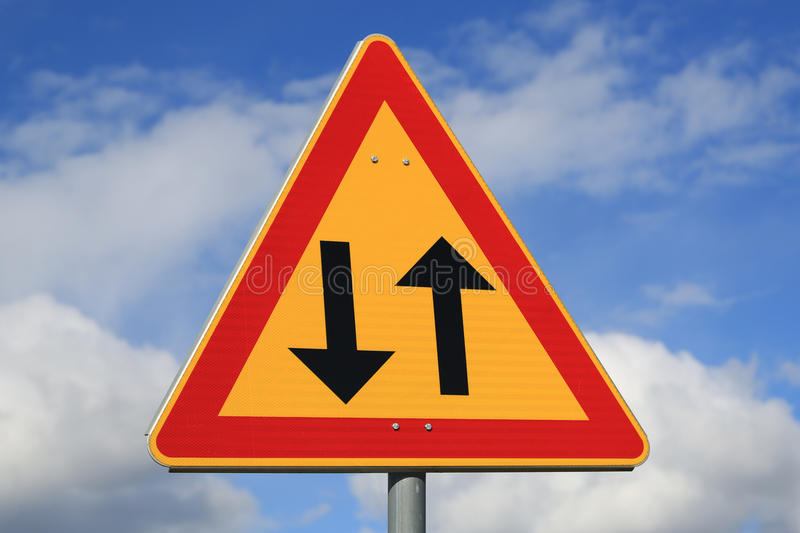 Sign Two Way Traffic Ahead stock images