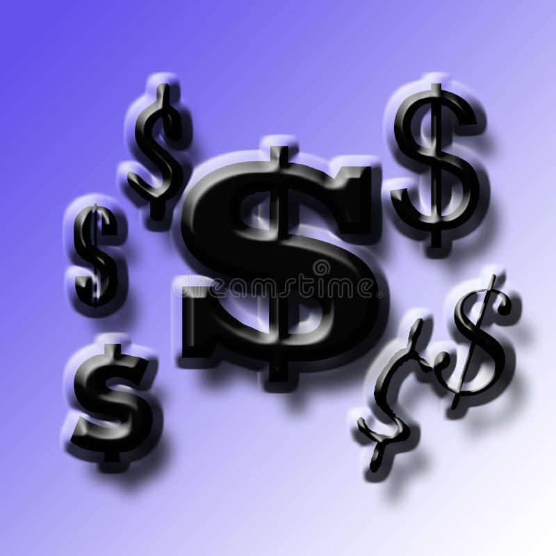 Sign U.S. dollars. Symbol U.S. dollars black and blue back background