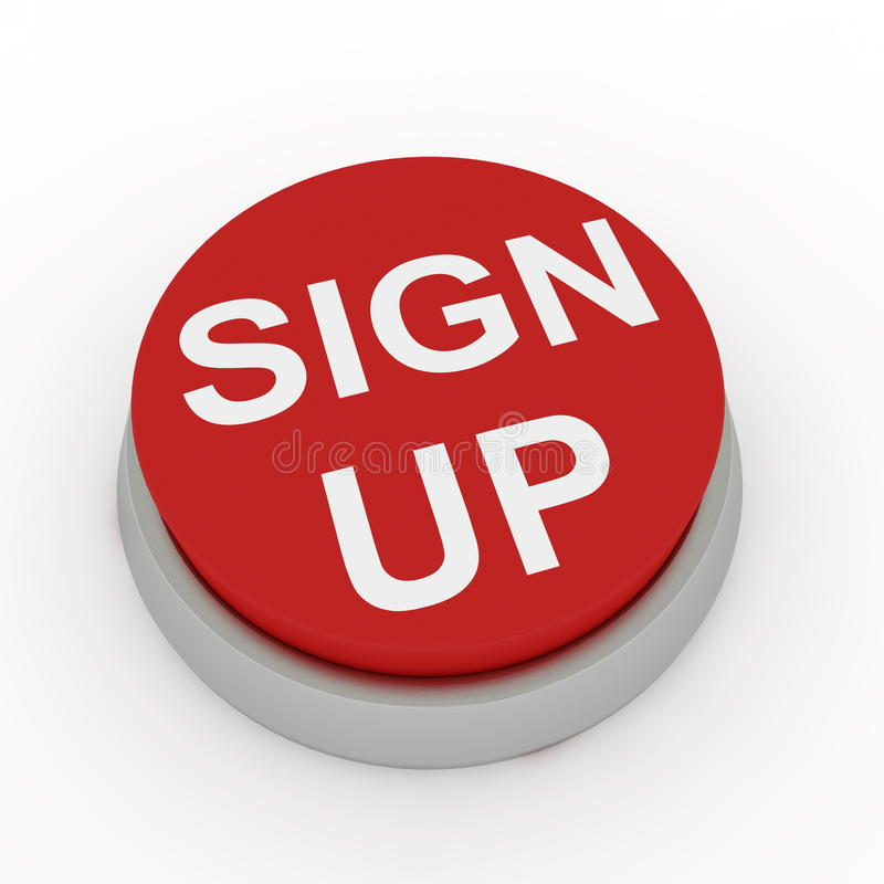 Sign up button. Computer render stock illustration