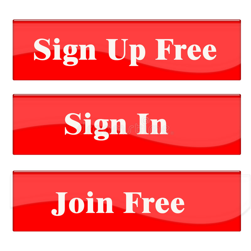 Sign Up button. This is list of buttons like : Sign Up, Join and Sig-In royalty free illustration