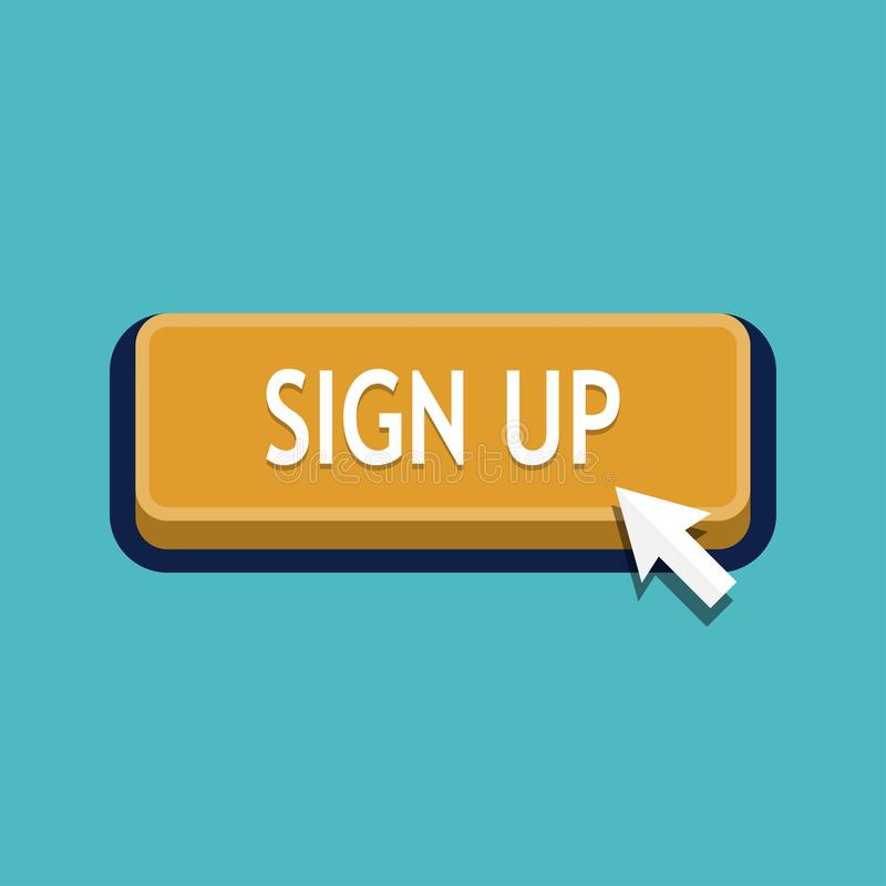 Sign Up Button Click. On white background. Vector illustration stock illustration