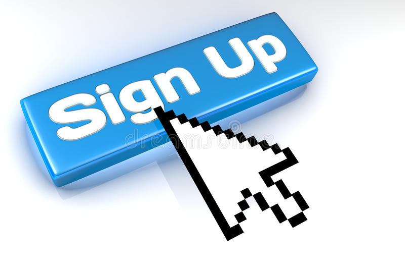 Sign Up button with mouse cursor over stock photography
