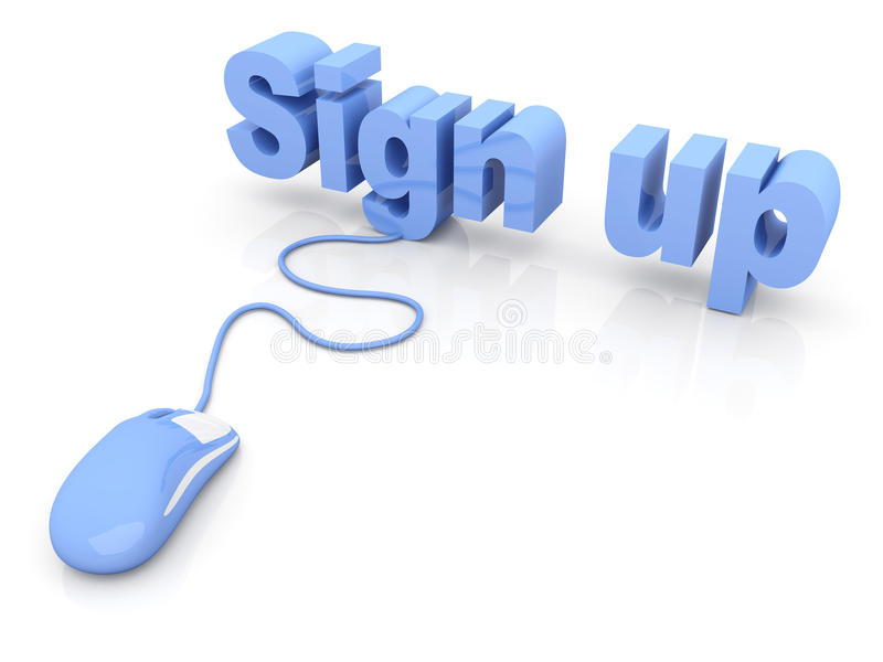 Sign up. 3D rendered Illustration. Isolated on white royalty free illustration