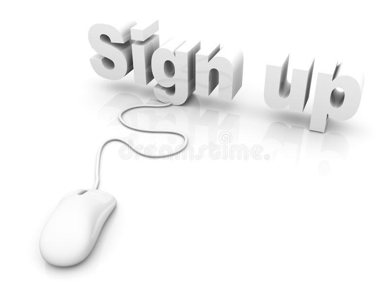 Sign up. 3D rendered Illustration. Isolated on white vector illustration