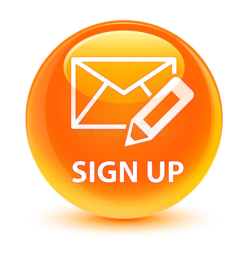 Sign up (edit mail icon) glassy orange round button vector illustration