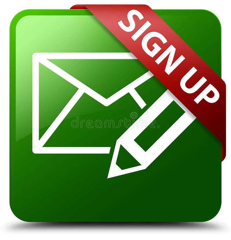 Sign Up Edit Mail Icon Green Square Button Stock Illustration