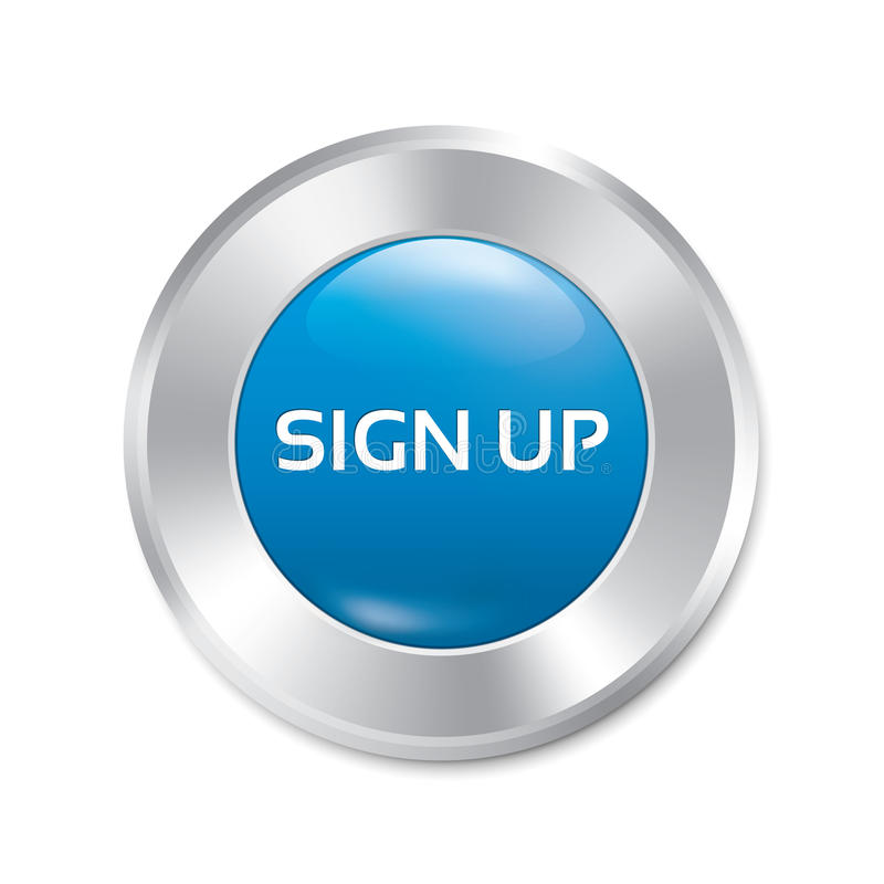 Sign up glossy blue button. Round sticker. royalty free illustration