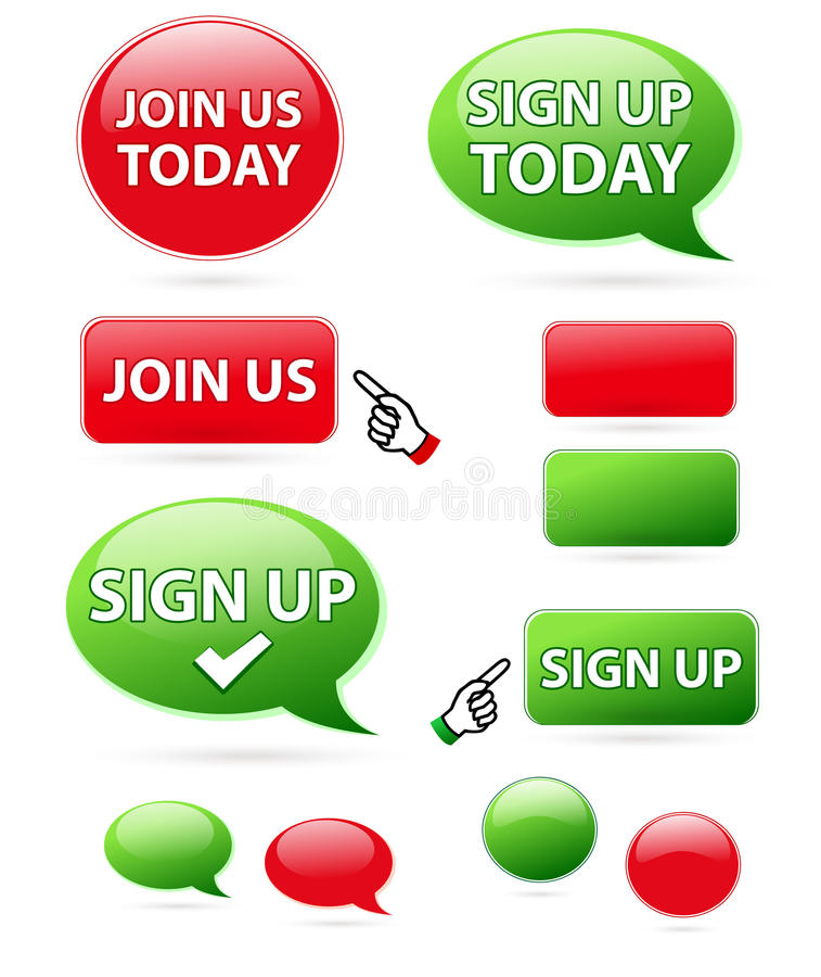 Download Sign up & join us icons stock illustration. Image of subscribe - 21522943